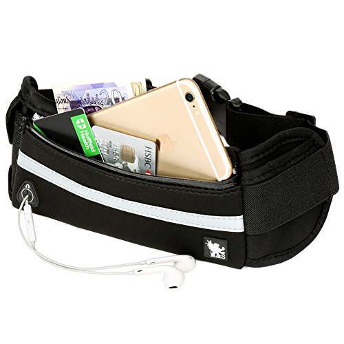 H&S Fit Running Belt - Fitness Belt - Runner Waist Pack Band Fanny Bag Travel Money Belt Waistpack for Hiking Men Women fit Phone iPhone 5 5s 6 6s 7 plus Samsung Galaxy S7 S5 S6 Edge Plus