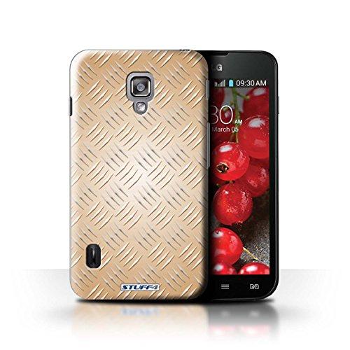 Kobalt® Imprimé Etui / Coque pour LG Optimus L7 II Dual / Argent conception / Série Motif en Métal en Relief Or