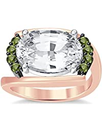 Silvernshine 4Ct Oval & Round Cut Sim Peridot Diamonds 18K Rose Gold Plated Engagement Ring