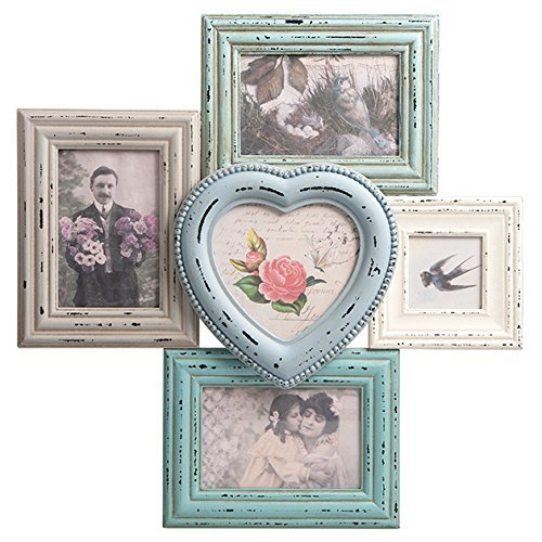 Distressed Multi Photo Frame | Blue + Cream by Maia Gifts - Distressed Cream
