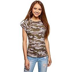 oodji Ultra Femme T-Shirt Imprimé en Coton, Vert, FR 36 / XS