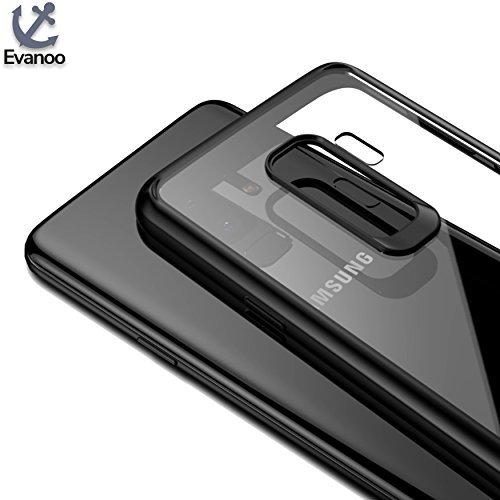 Samsung Galaxy S9+ Premium Bumper Schutzhülle von Evanoo® | Case | S9 Plus Hülle | Tasche | besonders dünn | transparent | Sturzschutz | Kratzschutz | (Samsung Galaxy S9+, schwarz)