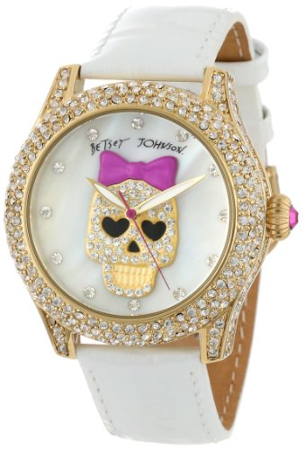 Uhren Johnson (Betsey Johnson Damen BJ00019-06 Analog Pink Skull Dial Uhr)