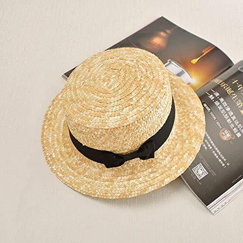 MZOOT Neue Sommer Süße Niedliche Vintage Bogen Gril Sonnenhut Strand Hut Bowie Bogen Navy Stil Strohhut Kappe Kurze Krempe Vintage-stil-hut