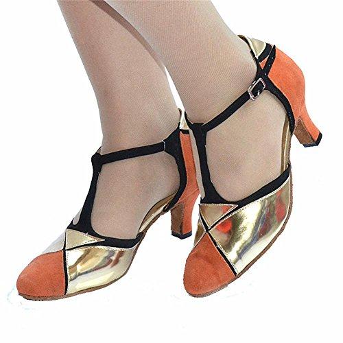 zaino chiuso in pelle tacco alto pu glitter salsa tango ballroom latin t-strap dance shoes oro arancione B