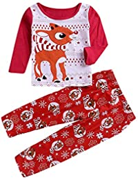 FRAUIT Pijamas de Familia Ropa de Dormir Trajes de Navidad de Venado de Navidad de Familiares Ropa de Dormir Traje a Juego de Navidad Mujer Hombre Bebé Niño Niña de Pijamas Mujeres de la Familia