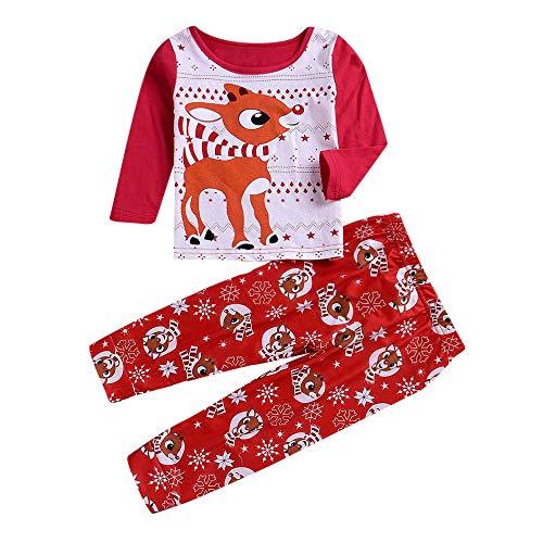 (sunnymi für 2-6 Jahre 2pcs Kinder Weihnachten Tops + Hosen Kitz Familien Kleidung Set (6 Jahre, Rot Kinder))