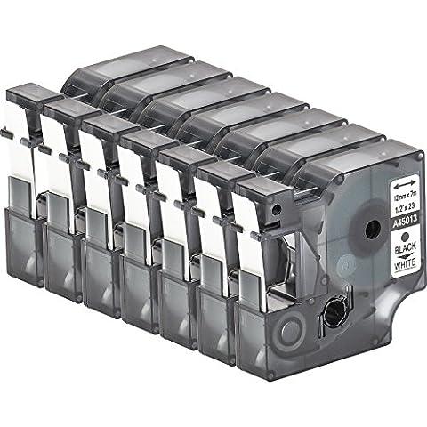 7 Cartuchos para impresión de etiquetas compatible con Dymo D1 45013 en negro sobre blanco 12 mm x 7 m para la LabelManager LabelPoint LabelWriter para DYMO LabelPOINT & LabelManager LM100 / LM120P / LM150 / LM160 / LMPC2 / LM200 / LM210D / LM220P / LM260 / LM280 / LM300 / LM350 / LM400 / LM260P / LM350D / LM360D / LM420P / LM450 / LP350 / LP100 / LP150 / LP200 / LP250 / LP300 / PC / PC2 / PnP / PnP WiFi / LW400 / LW450 Duo