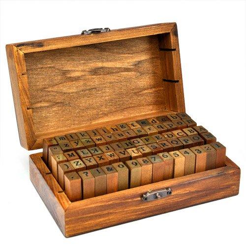 70-tlg. Holz Gummi Stempel Set Box Holz Stempelset Alphabet Buchstaben Zahlen