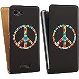 Sony Xperia E3 Tasche Schutz Hülle Walletcase Bookstyle Peace Hippie Bunt