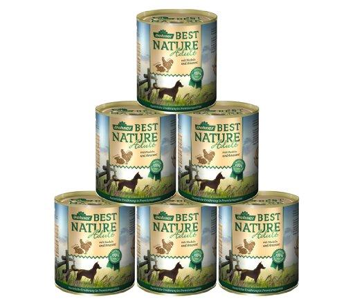 Dehner Best Nature Hundefutter Adult, Huhn und Kaninchen mit Nudeln, 6 x 800 g (4.8 kg) (Kaninchen Hundefutter)