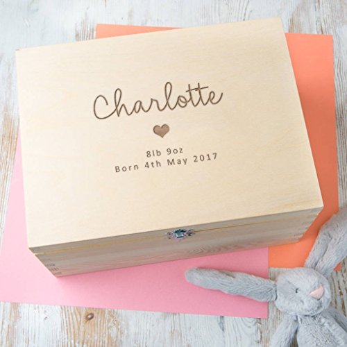 Personalised Baby Gift Wooden Keepsake Box / Memory Box - Girls and Boys Designs Available - Unique Gift for New Parents