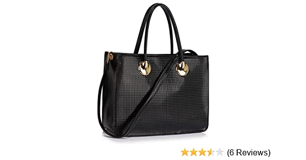 8afe4598f8d2 Ladies Women s Fashion Designer Faux Leather Chic Quality Patent Bags Tote Handbags  Bag CWS00394 (LARGE BLACK)  Amazon.co.uk  Clothing