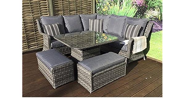 d3b51178b5fe Homeflair Rattan Garden Furniture Mia grey corner sofa + Dining table +2  stools: Amazon.co.uk: Garden & Outdoors