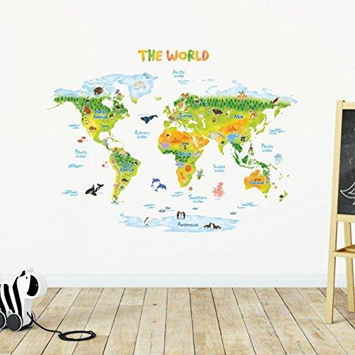 Decowall DMT-1715S Geológico Mapamundi Animales Vinilo Pegatinas Decorativas Adhesiva Pared Dormitorio Salón Guardería Habitación Infantiles Niños Bebés (Grande) (English Ver.)
