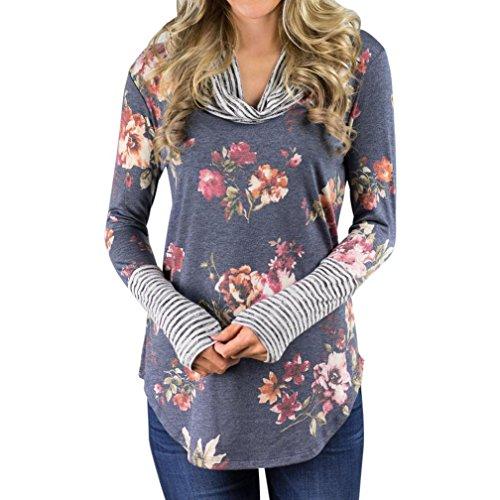 TWIFER Damen Floral Streifen Langarm Shirt, Herbst Pullover Tops Bluse (Rollkragen Lauren Langarm)