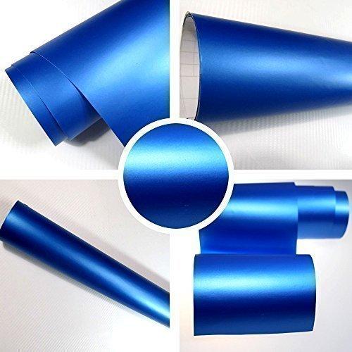 Autofolie Matt blau BLASENFREI 1m x 1,52m mit Luftkanäle 3D Flex -