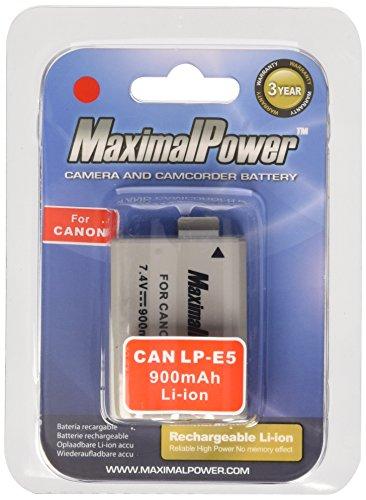 MaximalPower Canon LP-E5 LPE5 Batería de Ion de Litio para Cámaras Canon EOS, 900 mAh