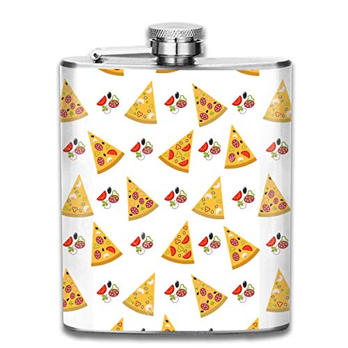 FGRYGF Pocket Container for Drinking Liquor, Fruits Slices Pizza Hip Flask for Liquor Stainless Steel Bottle Alcohol 7oz