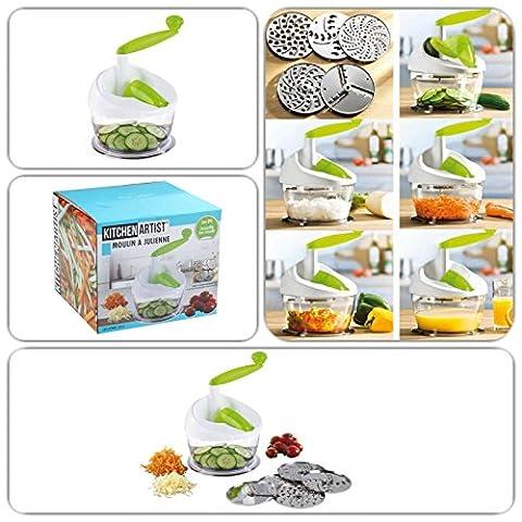 Gemüse-Schneider und Entsafter mit 5 austauschbaren Scheiben (Multi-Zerkleinerer, Saftpresse, Universal-Reibe, Häcksler, für