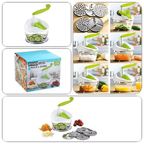 Gemüse-Schneider und Entsafter mit 5 austauschbaren Scheiben (Multi-Zerkleinerer, Saftpresse, Universal-Reibe, Häcksler, für Rohkost-Salat)
