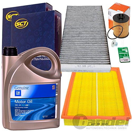 Filter Set Inspektions Satz 5L GM Dexos 2 5W30 1x Filter, Innenraumluft (Aktivkohle) 1x Luftfilter1x Oelfilter 1x Oelablassschraube