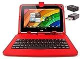 DURAGADGET Etui aspect cuir rouge + clavier intégré AZERTY (français) pour tablettes Acer Iconia Tab A700 / W700 et W500, A210/A211, A510 10,1' + stylet tactile et adaptateur micro USB vers USB BONUS