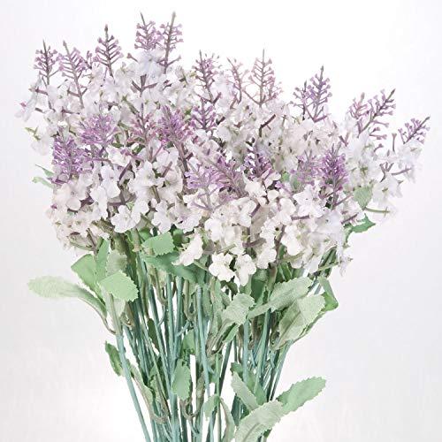 (Lysport 4 Bundles Romantic Provence 10 Heads Artificial Lavender Flowers Bouquet DIY Floor Garden Office Bridal Home Wedding Décor Multi Color Optional (white))