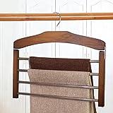 Malayas Mehrfach-Hosenbügel Holz Kleiderbügel für Hosen Krawatten Schal 38×35 cm, Braun