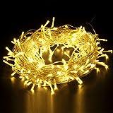 Yorbay 25m 200 LEDs Lichterkette Warmweiß IP44 wasserdicht aus Kupferdraht mit 8 Modi für Weihnachten, Party, Hochzeit, Haus Dekoration