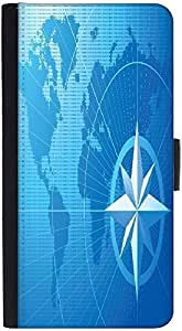Snoogg Blue Compass Vector Backgrounddesigner Protective Flip Case Cover For ...