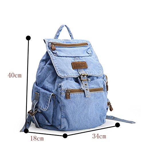 Imagen de genda 2archer bolsos del morral de las muchachas bolso del recorrido del morral del campus de los pantalones vaqueros azul  alternativa