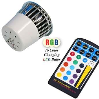 Lighting EVER Ampoule de couleur multiple à LED MR16 de 5W avec télécommande, 16 sortes de choix de couleurs, LED RGB