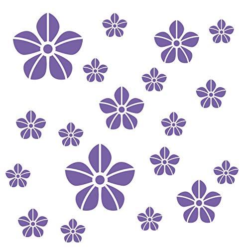 kleb-Drauf®   19 Blumen   Lila - matt   Wandtattoo Wandaufkleber Wandsticker Aufkleber Sticker   Wohnzimmer Schlafzimmer Kinderzimmer Küche Bad   Deko Wände Glas Fenster Tür Fliese (Lila Blumen-wand-aufkleber)