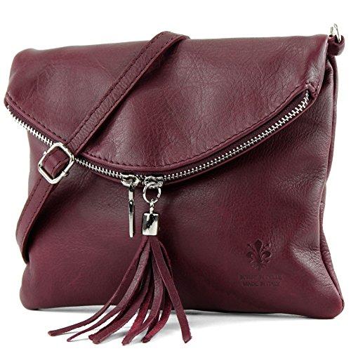 cuir petit ital. Sac en cuir d'embrayage sac d'embrayage sac à bandoulière sac Fille T139 T139 Bordeauxrot
