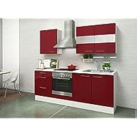 respekta Premium Instalación de Cocina Cocina 210 cm Blanco Rojo Brillo vitrocerámica Horno recirculación