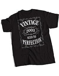 bybulldog Vintage 2002 Aged To Perfection 16th Birthday Present Gift Mens Premium Black T-Shirt Small To 3XL
