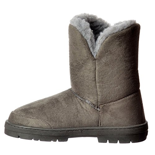 Onlineshoe Women's Double 2 Button Synthetic Fur Lined Flat Ankle Winter Boot - Grey, Chestnut, Brown, Black Grigio