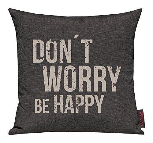 """'Per cuscino Emotion ca. 40x 40cm """"Don' t worry be happy in della Serie citazioni Emotion nel angesagten serigrafia (con chiusura lampo) colore 007antracite"""