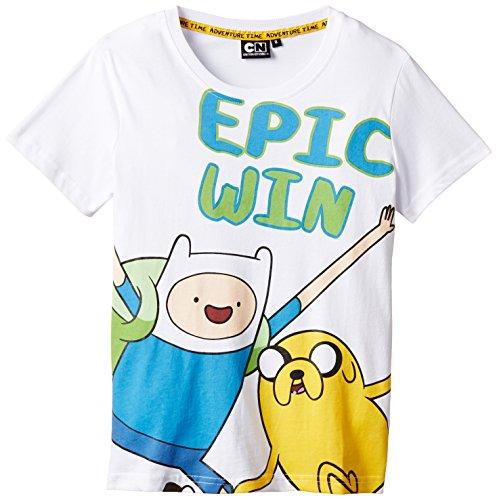 Adventure Time - T-Shirt, Bambino, Bianco, 6 (4-6 anni)