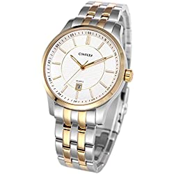 Comtex Luxury Men's Quartz Watches Gold Tone Analogue with Stainless Steel Bracelet 30M Waterproof