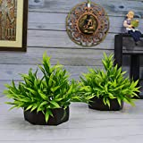 Fancy Mart Wood, PVC & Plastic Artificial Bamboo Leaves Plant with Wood Hexagon Pot (20 cm, Green, Set of 2)
