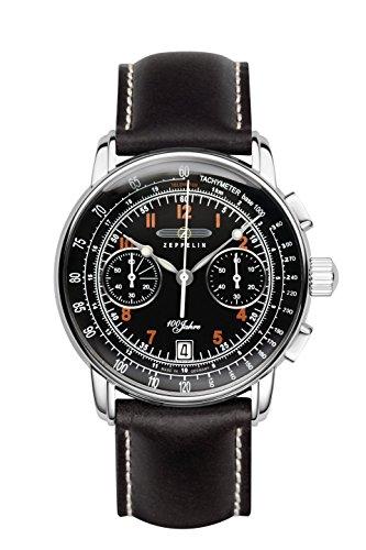 Zeppelin 100ans pour homme chronographe Date montre Cuir Noir 7674–2
