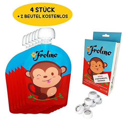 Frolino Quetschies 6er Packung Aktion | 6 Stück wiederverwendbare Quetschbeutel | BPA & PVC frei | Kostenlose Rezepte | Ideal für Früchte-Brei und Smoothies | Doppel-Zipper | Leicht zu säubern | keine Ecken