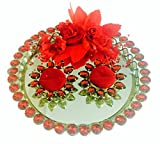 Loops n knots Red Rose Wedding /Engagement Ring Platter -2 Ring Holders