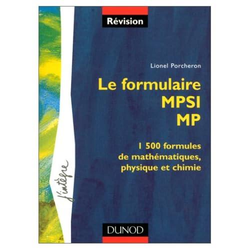 Le formulaire : 1re année MPSI, 2e année MP