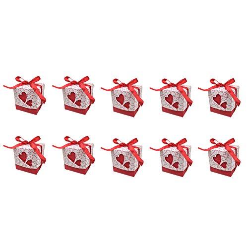Monbedos 10 Candy Box mit Spitzenband Persönlichkeit Geschenk Papier Box Keks Kiste Deko behandelt Boxen für Kinder Geburtstag Baby Dusche Gäste Hochzeit Party Supplies, Rot, 7 x 7 x 7 cm