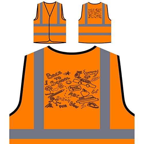 Zurück zu Schule Katze Abc Lustiges Geschenk Neuheit Personalisierte High Visibility Orange Sicherheitsjacke Weste d522vo