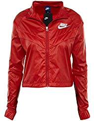 nike W NSW JKT Windbreaker Swsh Chaqueta Cortavientos, Mujer, Rojo / (University Red / Black / White), XL