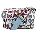 Miss Lulu - Small Oilcloth Satchel Bag - Butterfly Print Blue